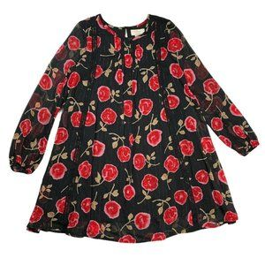 Kate Spade Girls Dress 10Y Black Red Semi Sheer Lined Floral Metallic Shift Lace
